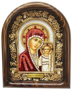 Казанская Божья Матерь, дивеевская икона из бисера ручной работы - фото 4778