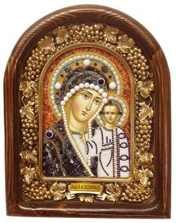 Казанская Божья Матерь, дивеевская икона из бисера и натуральных камней - фото 4780