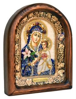 Неувядаемый цвет образ Божией Матери, дивеевская икона из бисера и натуральных камней - фото 4786