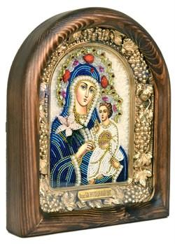 Неувядаемый цвет образ Божией Матери, дивеевская икона из бисера ручной работы - фото 4790