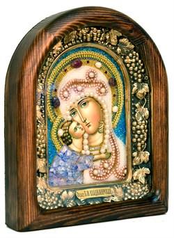 Владимирская Божья Матерь, дивеевская икона из бисера и натуральных камней - фото 4800