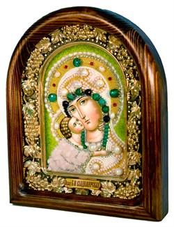 Владимирская Божья Матерь, дивеевская икона из бисера и натуральных камней - фото 4802