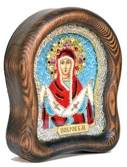 Покров Пресвятой Богородицы, дивеевская икона из бисера ручной работы - фото 4832