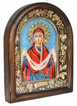 Покров Пресвятой Богородицы, дивеевская икона из бисера ручной работы - фото 4838