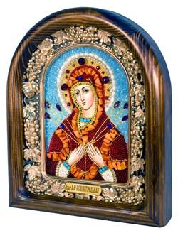 Семистрельная образ Божией Матери, дивеевская икона из бисера и натуральных камней - фото 4842