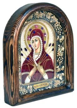 Семистрельная образ Божией Матери, дивеевская икона из бисера ручной работы - фото 4848