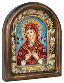 Семистрельная образ Божией Матери, дивеевская икона из бисера ручной работы - фото 4854