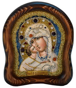 Владимирская Божья Матерь, дивеевская икона из бисера ручной работы - фото 4864