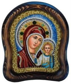 Казанская Божья Матерь, дивеевская икона из бисера ручной работы - фото 4880