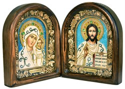 Венчальная пара, дивеевская икона (белый-синий) - фото 4904
