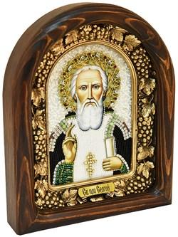 Сергий Радонежский, дивеевская икона из бисера ручной работы - фото 4954