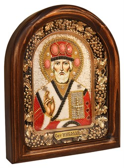 Николай Чудотворец, дивеевская икона из бисера ручной работы - фото 4956