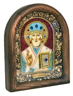 Николай Чудотворец, дивеевская икона из бисера ручной работы - фото 4972