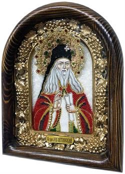 Лев Оптинский, дивеевская икона из бисера ручной работы - фото 4976