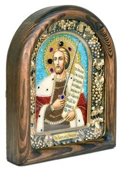 Александр Невский, дивеевская икона из бисера ручной работы - фото 4978