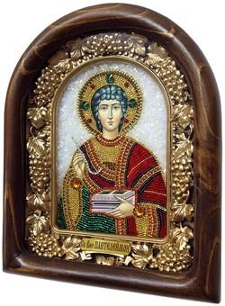 Пантелеймон Святой Великомученик, дивеевская икона из бисера ручной работы - фото 4992