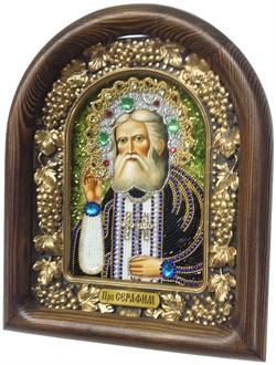Серафим Саровский Преподобный, дивеевская икона из бисера ручной работы - фото 4998