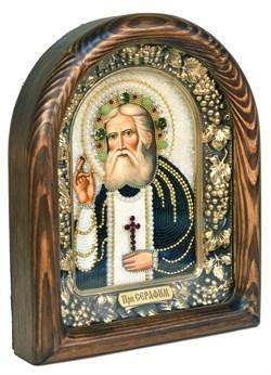 Серафим Саровский Преподобный, дивеевская икона из бисера ручной работы - фото 5002