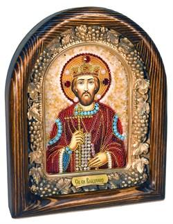 Владимир святой князь, дивеевская икона из бисера ручной работы - фото 5008