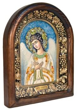 Ангел Хранитель, дивеевская икона из бисера и натуральных камней - фото 5032
