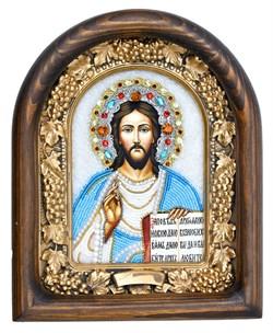 Господь Вседержитель, дивеевская икона из бисера ручной работы - фото 5038