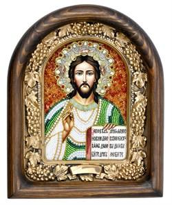 Господь Вседержитель, дивеевская икона из бисера ручной работы - фото 5040