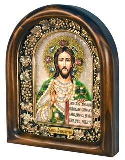 Господь Вседержитель, дивеевская икона из бисера ручной работы - фото 5048