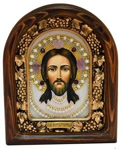 Спас Нерукотворный, дивеевская икона из бисера ручной работы - фото 5060