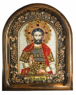 Иоанн Воин, дивеевская икона из бисера ручной работы - фото 5093