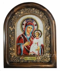 Иверская Божья Матерь, дивеевская икона из бисера ручной работы - фото 5101