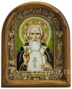 Сергий Радонежский, дивеевская икона из бисера ручной работы - фото 5119