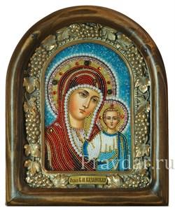 Казанская Божья Матерь, дивеевская икона из бисера ручной работы - фото 5145