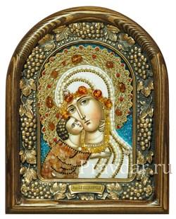 Владимирская Божья Матерь, дивеевская икона из бисера и натуральных камней - фото 5152