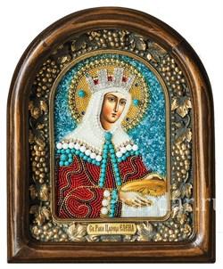 Елена Святая царица, икона из бисера в деревянном киоте - фото 5219