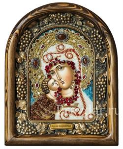 Владимирская Божья Матерь, дивеевская икона из бисера и натуральных камней - фото 5238