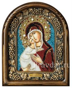 Владимирская Божья Матерь, дивеевская икона из бисера и натуральных камней - фото 5240