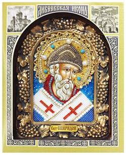 Спиридон Тримифунтский, дивеевская икона из бисера ручной работы - фото 5273
