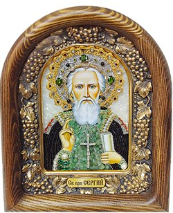Сергий Радонежский, дивеевская икона из бисера и натуральных камней - фото 5277