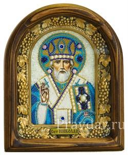 Николай Чудотворец, дивеевская икона из бисера и натуральных камней - фото 5296