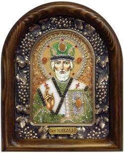 Николай Чудотворец, дивеевская икона из бисера ручной работы - фото 5379