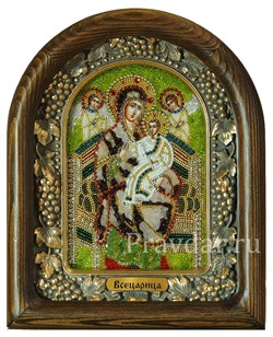 Всецарица образ Божией Матери, дивеевская икона из бисера с камнями - фото 5403
