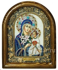 Неувядаемый цвет образ Божией Матери, дивеевская икона из бисера ручной работы - фото 5409