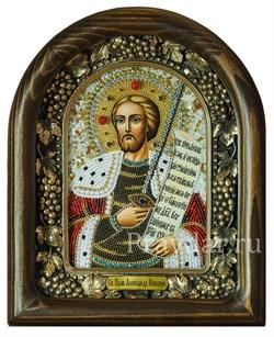 Александр Невский, дивеевская икона из бисера ручной работы - фото 5431
