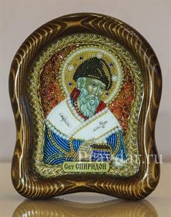 Спиридон Тримифунтский, дивеевская икона из бисера ручной работы - фото 5438