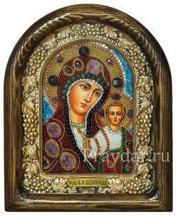 Казанская Божья Матерь, дивеевская икона из бисера и натуральных камней - фото 5478
