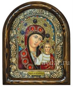 Казанская Божья Матерь, дивеевская икона из бисера и натуральных камней - фото 5482