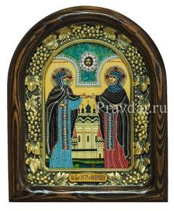 Святые Петр и Феврония, дивеевская икона из бисера ручной работы - фото 5906
