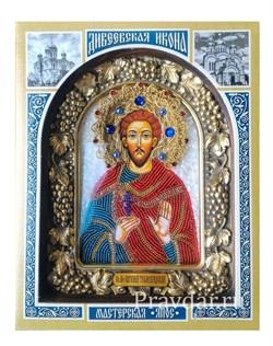 Евгений Трапезундский, дивеевская икона из бисера ручной работы - фото 5915