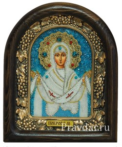 Покров Пресвятой Богородицы, дивеевская икона из бисера ручной работы - фото 5941