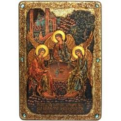 Троица икона в авторском стиле на мореном дубе (большая) - фото 6321